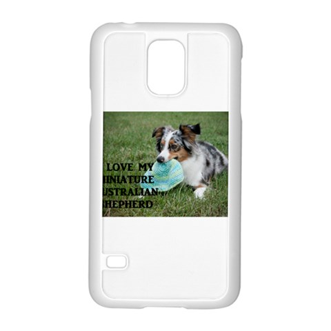 Blue Merle Miniature American Shepherd Love W Pic Samsung Galaxy S5 Case (White)