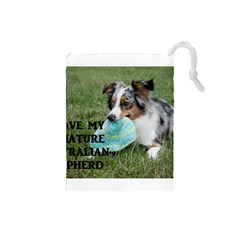Blue Merle Miniature American Shepherd Love W Pic Drawstring Pouches (Small)