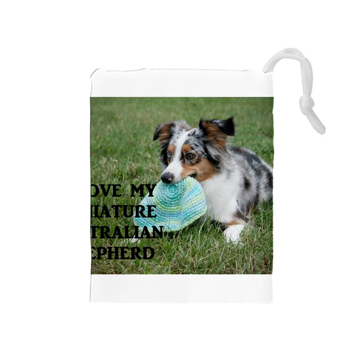 Blue Merle Miniature American Shepherd Love W Pic Drawstring Pouches (Medium)