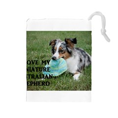 Blue Merle Miniature American Shepherd Love W Pic Drawstring Pouches (Large)