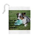 Blue Merle Miniature American Shepherd Love W Pic Drawstring Pouches (Large)  Back