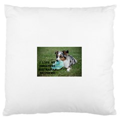 Blue Merle Miniature American Shepherd Love W Pic Large Flano Cushion Case (One Side)