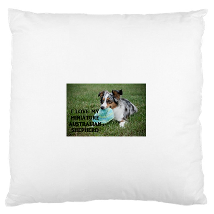Blue Merle Miniature American Shepherd Love W Pic Large Flano Cushion Case (Two Sides)