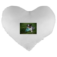 Blue Merle Miniature American Shepherd Love W Pic Large 19  Premium Flano Heart Shape Cushions