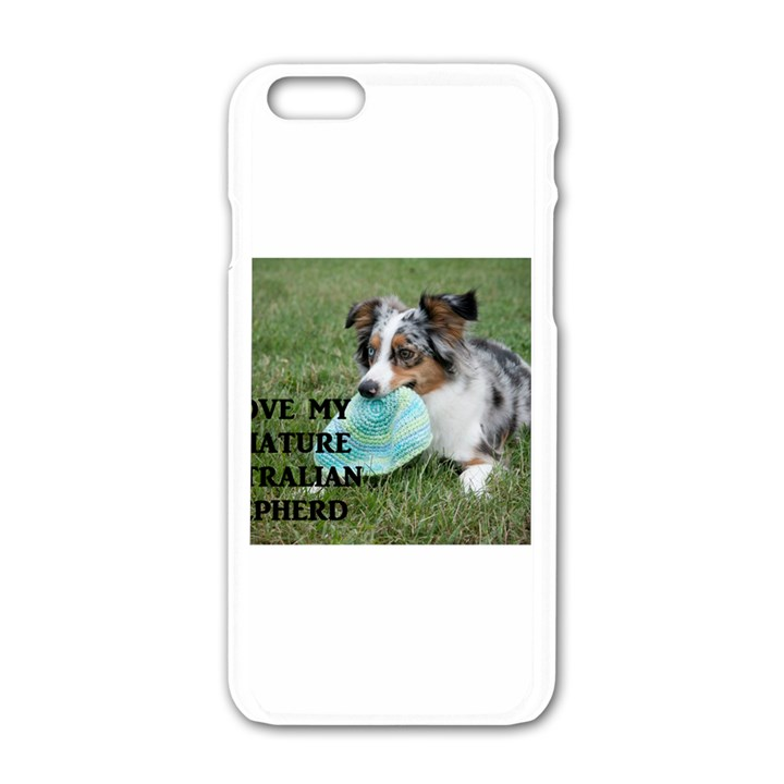 Blue Merle Miniature American Shepherd Love W Pic Apple iPhone 6/6S White Enamel Case