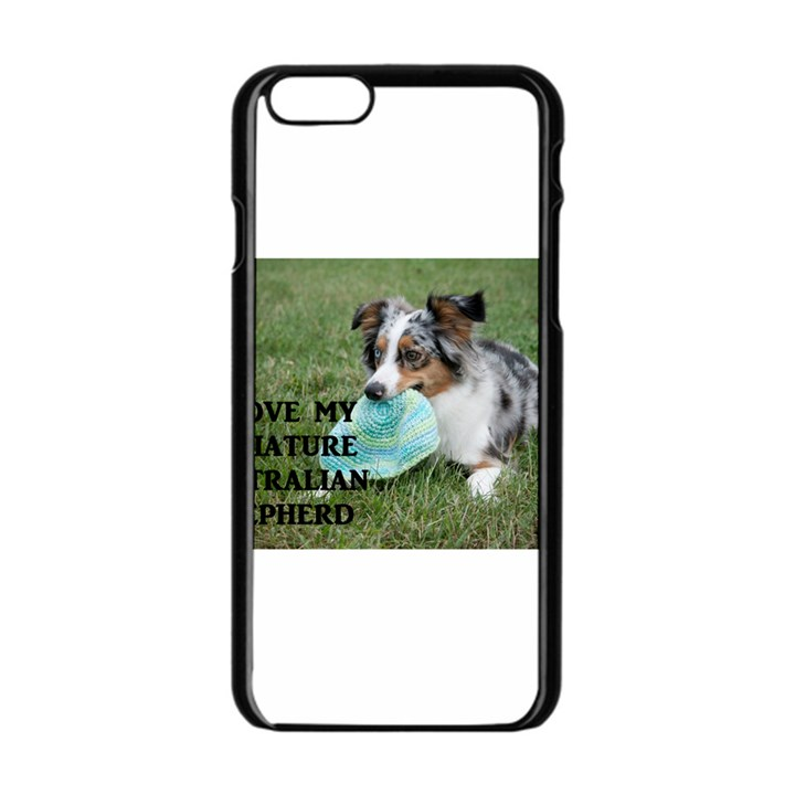 Blue Merle Miniature American Shepherd Love W Pic Apple iPhone 6/6S Black Enamel Case