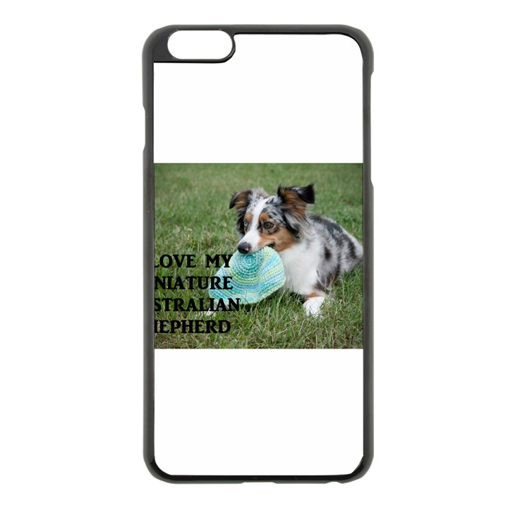 Blue Merle Miniature American Shepherd Love W Pic Apple iPhone 6 Plus/6S Plus Black Enamel Case