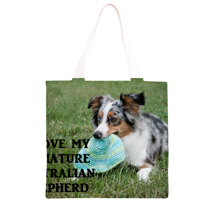 Blue Merle Miniature American Shepherd Love W Pic Grocery Light Tote Bag