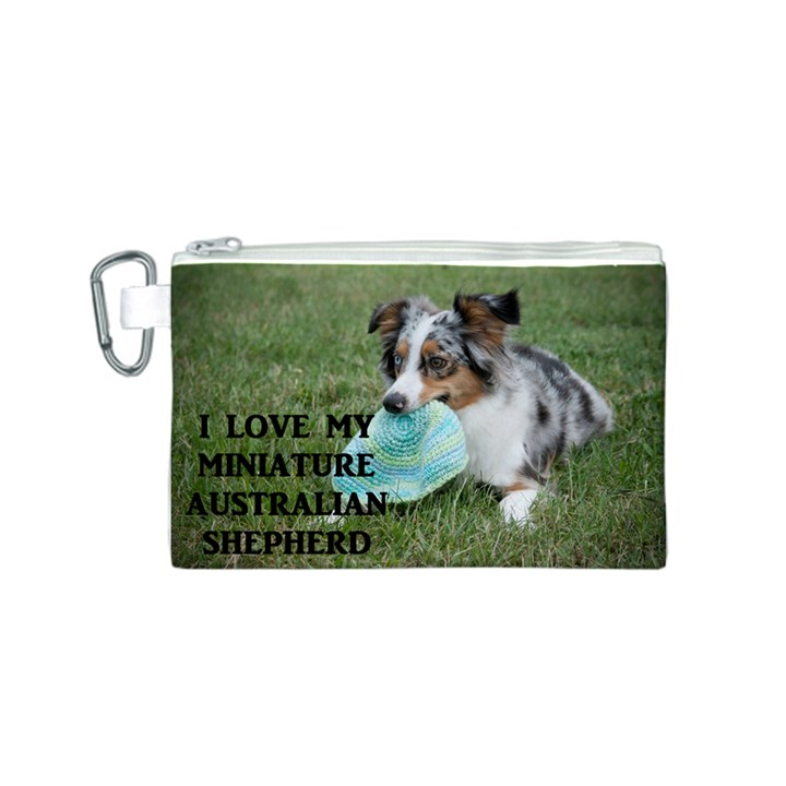 Blue Merle Miniature American Shepherd Love W Pic Canvas Cosmetic Bag (S)