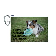 Blue Merle Miniature American Shepherd Love W Pic Canvas Cosmetic Bag (M)