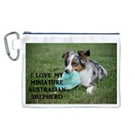 Blue Merle Miniature American Shepherd Love W Pic Canvas Cosmetic Bag (L) Front