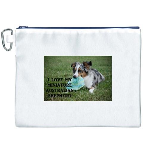 Blue Merle Miniature American Shepherd Love W Pic Canvas Cosmetic Bag (XXXL)