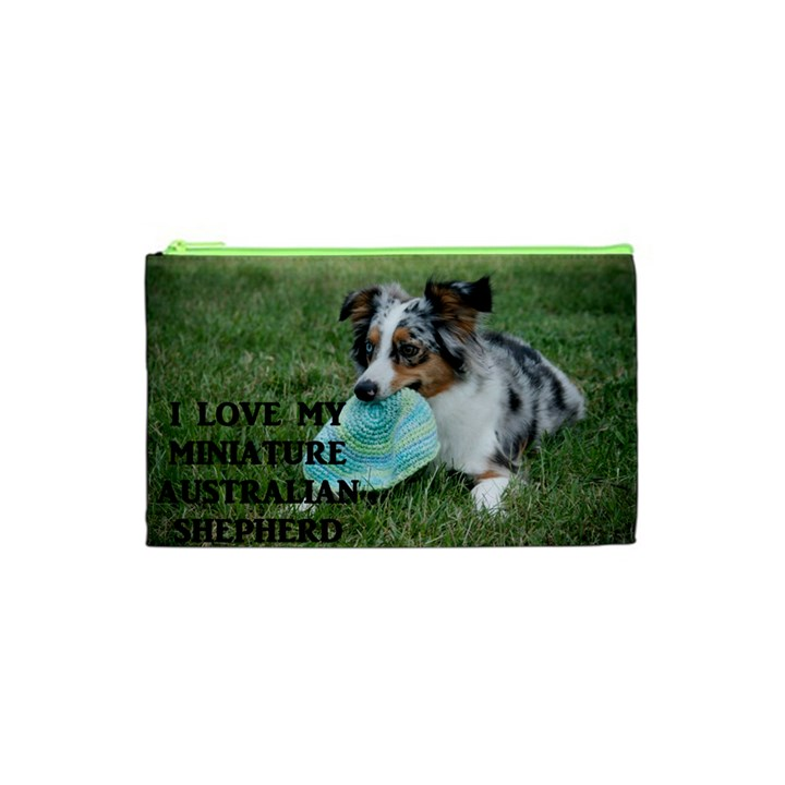 Blue Merle Miniature American Shepherd Love W Pic Cosmetic Bag (XS)