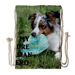 Blue Merle Miniature American Shepherd Love W Pic Drawstring Bag (Large)