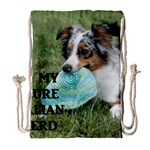 Blue Merle Miniature American Shepherd Love W Pic Drawstring Bag (Large) Front