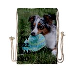 Blue Merle Miniature American Shepherd Love W Pic Drawstring Bag (Small) Front