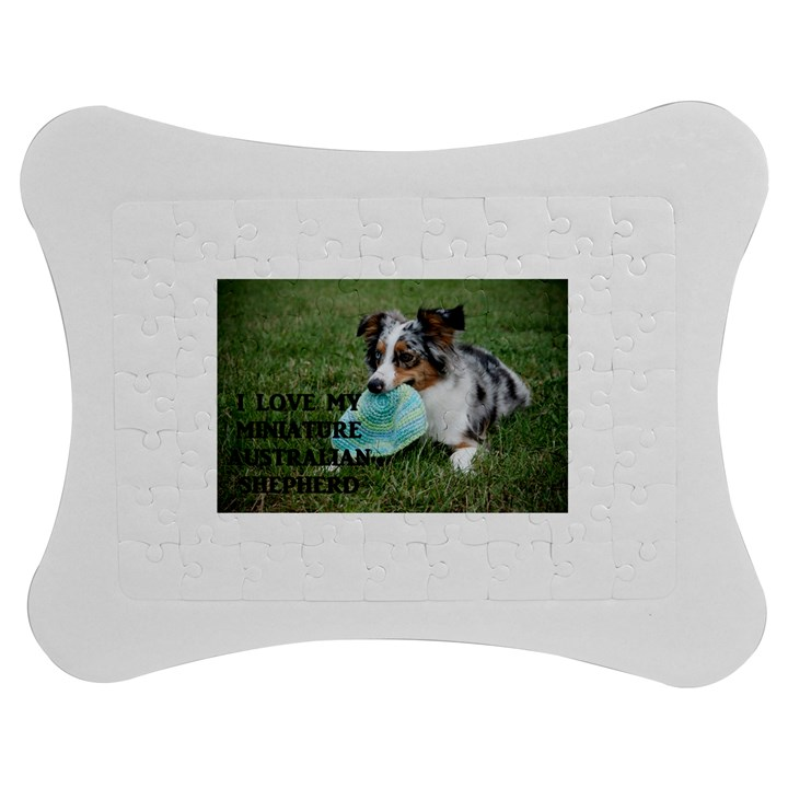 Blue Merle Miniature American Shepherd Love W Pic Jigsaw Puzzle Photo Stand (Bow)