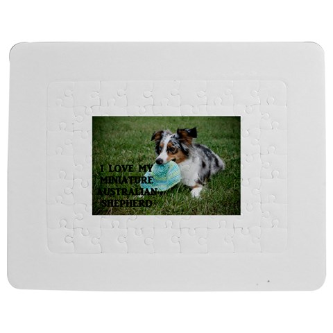 Blue Merle Miniature American Shepherd Love W Pic Jigsaw Puzzle Photo Stand (Rectangular)