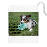 Blue Merle Miniature American Shepherd Love W Pic Drawstring Pouches (XXL) Front