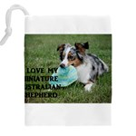 Blue Merle Miniature American Shepherd Love W Pic Drawstring Pouches (XXL) Back
