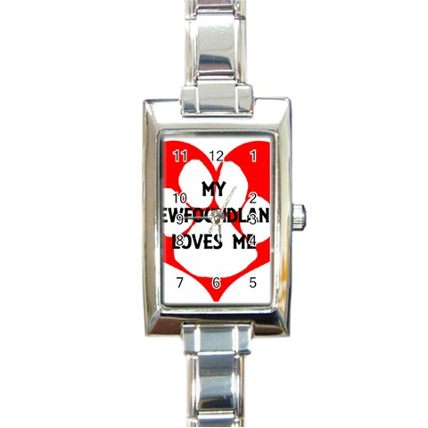 My Newfie Loves Me Rectangle Italian Charm Watch