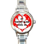 My Newfie Loves Me Round Italian Charm Watch Front