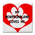 My Newfie Loves Me Tile Coasters Front