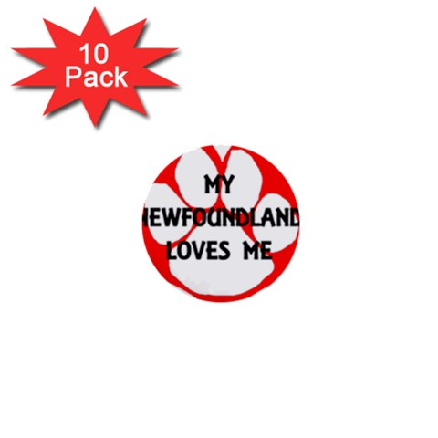My Newfie Loves Me 1  Mini Buttons (10 pack)