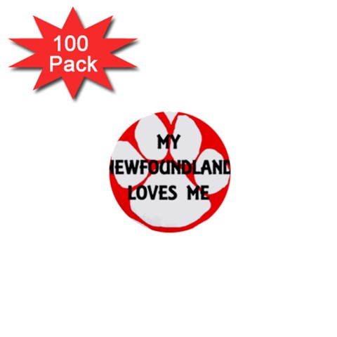 My Newfie Loves Me 1  Mini Buttons (100 pack)