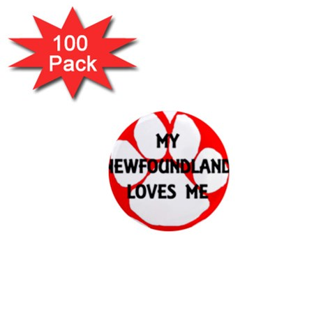 My Newfie Loves Me 1  Mini Magnets (100 pack)