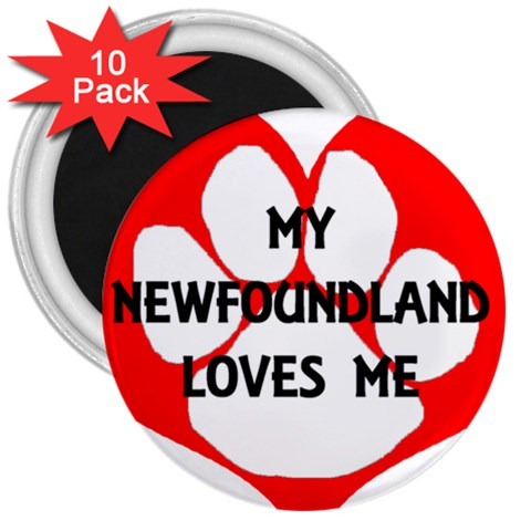 My Newfie Loves Me 3  Magnets (10 pack)