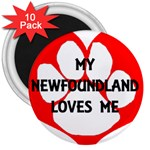 My Newfie Loves Me 3  Magnets (10 pack)  Front