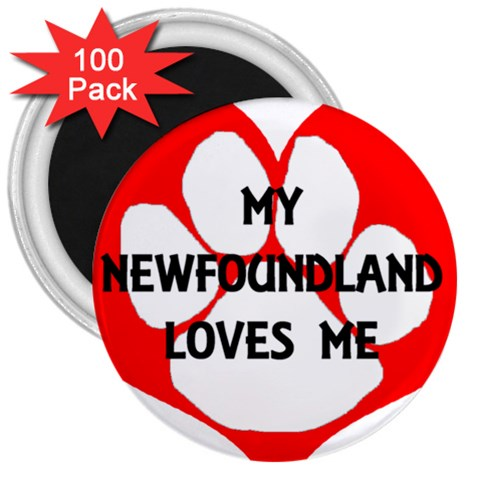 My Newfie Loves Me 3  Magnets (100 pack)