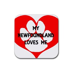 My Newfie Loves Me Rubber Square Coaster (4 pack)