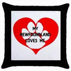 My Newfie Loves Me Throw Pillow Case (Black)