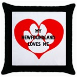 My Newfie Loves Me Throw Pillow Case (Black) Front