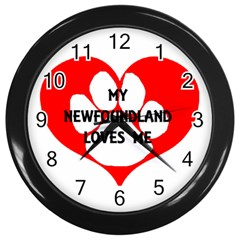 My Newfie Loves Me Wall Clocks (Black)