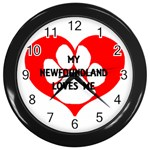 My Newfie Loves Me Wall Clocks (Black) Front