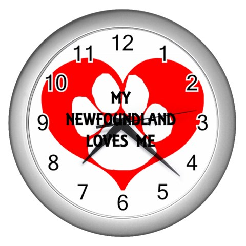 My Newfie Loves Me Wall Clocks (Silver)