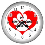 My Newfie Loves Me Wall Clocks (Silver)  Front