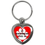 My Newfie Loves Me Key Chains (Heart)  Front