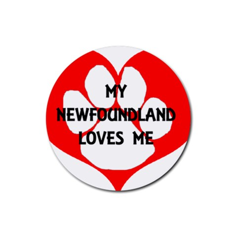 My Newfie Loves Me Rubber Round Coaster (4 pack)