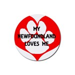My Newfie Loves Me Rubber Round Coaster (4 pack)  Front