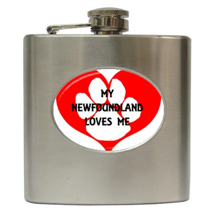 My Newfie Loves Me Hip Flask (6 oz)