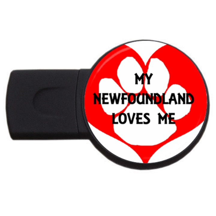 My Newfie Loves Me USB Flash Drive Round (1 GB)