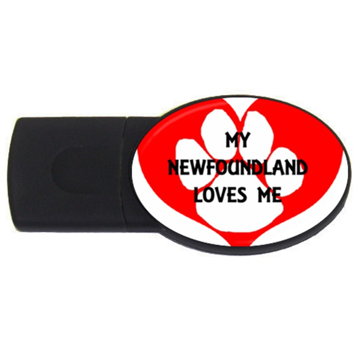My Newfie Loves Me USB Flash Drive Oval (1 GB)