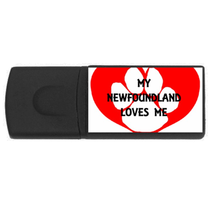 My Newfie Loves Me USB Flash Drive Rectangular (1 GB)