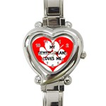 My Newfie Loves Me Heart Italian Charm Watch Front