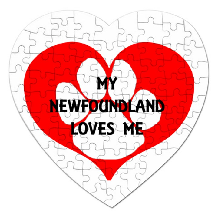 My Newfie Loves Me Jigsaw Puzzle (Heart)