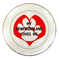 My Newfie Loves Me Porcelain Plates